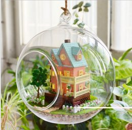 miniature ship models Coupons - Maisonette wood model DIY glass ball wooden doll house miniature dollhouse with lights free shipping