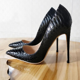 Wholesale designer bridal shoes - Black Women Pumps Snake Shoes Woman Red Bottom Pointed Toe High Heels Shoes Luxury Designer Wedding Bridal Shoes Sexy High Heels 35-44