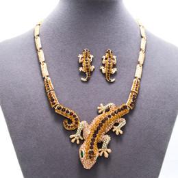 Gecko halsketten online-Strass Kristall Gold Gecko Lizard Halskette Ohrring Sets Tier Schmuck Set für Frauen Festzug Schmuck Zubehör FA3274