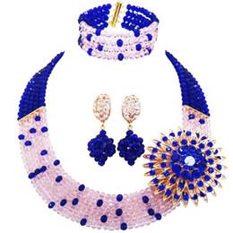 Mariage bleu pêche en Ligne-Mariage Royal Blue Peach Nigerian Classique Cristal Perles Femmes Ensembles De Bijoux 5C-SZ-30