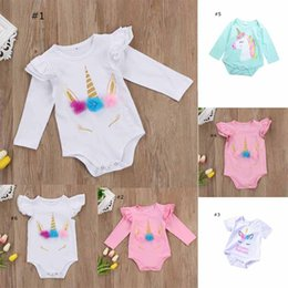 Wholesale Green Rompers - Unicorn new arrivals spring summer baby kids climbing romper round collar long sleeve or short sleeve girl kids romper baby rompers 0-2T