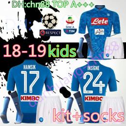 c5d59db34c0d9 venta de camisas de niños Rebajas 2018 Napoli kit infantil + calcetín  Camiseta de fútbol 18