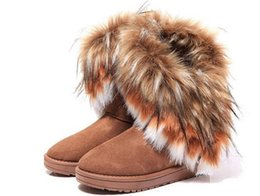 Wholesale Brown Wedges Women - Fashion Fox Fur Warm Autumn Winter Wedges Snow Women Boots Shoes GenuineI Mitation Lady Short Boots Casual Long Snow Shoes size 36-40