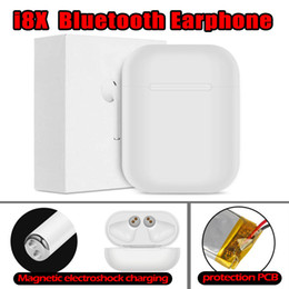 серебряные наушники iphone Скидка I8X Bluetooth-гарнитура для зарядного устройства для наушников в ухе Невидимый наушник для наушников с микрофоном для наушников для ios android