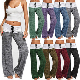Wholesale Yoga Harem - Women Foldover Wide Leg Palazzo Trousers Long Yoga Loose Fit Harem Pants Trouser Fitness Flare Pants OOA4284