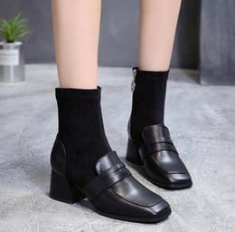 petites bottes à talons Promotion Bottes pour femme 2018 nouvelles bottes à talons hauts à talons hauts avec tête sexy pour l'automne et l'hiver sexy avec Martin