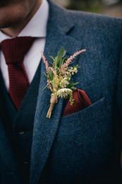 2018 New Airtailors Burgund Krawatte Tweed Brand Weste Slim Fit Krawatte Bräutigam Weste Custom Made Krawatte von Fabrikanten