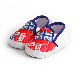 Wholesale Red White Blue Striped Flag - 1 Pair Flag printed Kids Baby Shoes Soft Bottom Walking Shoes Boy Girl Striped Anti-Slip Sneakers A pedal Leisure Baby