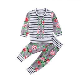 2pcs mode fleur bébé vêtements enfant en bas âge bébé garçon fille rayé dessus fleuri à manches longues haut casual fleuri longs pantalons tenues ensemble ? partir de fabricateur