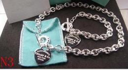 2019 mulheres Hot 925 Sterling Silver Com jóias de moda colar e pulseira set com caixa Frete grátis