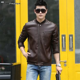Wholesale mens black suede jacket xl - Autumn Winter PU Leather Red Men's Suede Jackets Men Crew Neck Collar Black Slim Fit Brand Mens Motorcycle Jackets and Coats