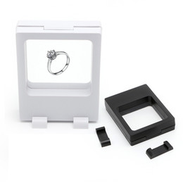 wholesale jewelry display stand Coupons - black white Suspended Floating Display Cases Box Jewellery Coins Gems Artefacts Stand Holder hot sale fashion
