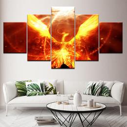2019 pinturas de phoenix Arte da parede Poster Modular Imagens Da Lona 5 Peças de Fogo Phoenix Emoldurado Decoração de Casa Sala de estar Moderna HD Impresso Abstratas Pinturas desconto pinturas de phoenix