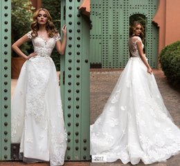 Wholesale Sheath Fitted Wedding Dresses - 2018 Modern Lace Wedding Dresses Sheer Neck Sheath Illusion Back Appliqued Fitted Bridal Wedding Gowns Detachable Train Custom Made BA7595
