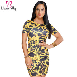 805878291119 2018 Summer Women Mini Dress Chain Printed O Neck Vintage Short Sleeve  Bodycon Sexy Lady Party Club Dresses Bandage Vestidos