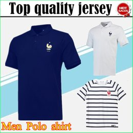 Wholesale football polo shirts - 2018 World Cup Polo GRIEZMANN Polo White Blue Soccer Jersey 2018 19 POGBA Soccer Polo Football Uniforms Sport Shirt