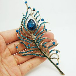 Wholesale Peacock Feather Brooches - Gorgeous Peacock Feathers Gold Tone Blue Rhinestone Crystal Brooch Pin Gift
