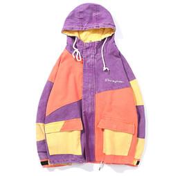 Chaqueta con capucha y cremallera completa para hombre en color block  patchwork vintage 2018 Hip Hop Casual bolsillos Streetwear Chaqueta abrigos 6b1d06a3473