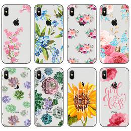 Vintage rose telefon online-Telefon-Kasten für iPhone XS MAX XR 5 5S SE 6 6S 7 8 Plus X-Weinlese Blumenblume Sonnenblume Gänseblümchen-Rosenmuster TPU weiches Silikon-rückseitige Abdeckung