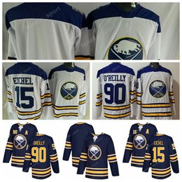 Wholesale White Navy Uniforms - Buffalo Sabres 2018 Ice Hockey 90 Ryan OReilly Jersey O Reilly Uniforms Blank 15 Jack Eichel Team All Stitched Navy Blue White Top Quality