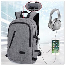 Wholesale wholesale anti theft locks - Laptop Anti-theft Backpack With USB Charging Headphone Interface School Bag Unisex Anti-theft Lock Laptop Shoulder Bag CCA9949 20pcs