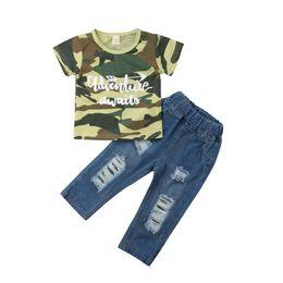 Мальчики джинсы t рубашки брюки онлайн-Newborn Kids Baby Boys Camo Tops T-shirt Denim Pants Hole Jeans Outfits Clothes 2PC Boys Clothing Set
