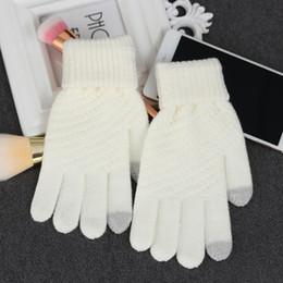 Gants tricotés gris en Ligne-Main Blanc Poignets Tricotés Au toucher laine Réchauffeur Gris Paire de gants sans doigts Écran Hiver Femmes / Hommes Chauds 1