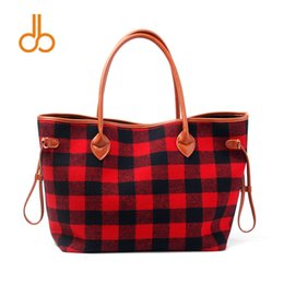 Red Plaid Strip Tote Wholesale Blanks Buffalo Check Purse with PU Handle Gift Christmas Handbag Free Shipping DOM106377