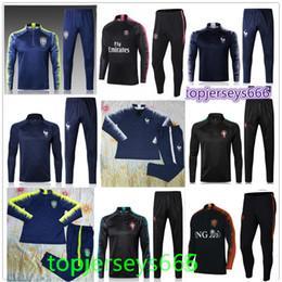 Wholesale full men - Franceh Brasil Netherlands soccer Tracksuit 2018-2019 Portugals jacket jogging P.COUTINHO MBAPPE GRIEZMANN POGBA Football Training suit