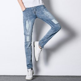 Icpans Mens Jeans Ripped Jeans Fashion Designer Men Straight Light White  Color youth Slim trousers a1cbf6f68
