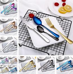 Wholesale Stainless Steel Cutlery Pieces - 4 Piece Set Stainless Steel Dinnerware Sets Tableware Knife Fork Teaspoon Luxury Cutlery Set Tableware Set T2I138