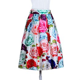 19d91cb5fcf97 Fashion Women Skirts Elastic Waist Plus Size Print Pleated Formal Skirt  Faldas Mujer Moda Stretchy Skirts