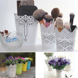 Lace Floral Pflanze Blumenvase Stift Topf Make-up Pinsel Aufbewahrungsboxen Bin Halter Schreibtisch Veranstalter Fall Container von Fabrikanten