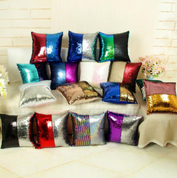 Wholesale Patchwork Sofa Covers - 38 Colors Sequin Pillow Case Mermaid Pillow Cover Glitter Reversible Sofa Magic Double Reversible Swipe Cushion Free Shipping