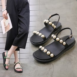 3e5a647ae8241d Summer classics women s casual shoes Bohemian microfiber pearl sandals  Solid with beading flat leisure beach shoes for female