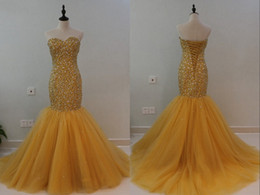 Wholesale corset dress slit - Luxury Gold Mermaid Pageant Dresses Long Sweetheart Crystal Rhinestones Bodice Tulle Corset Back Evening Formal prom Dress Cheap New