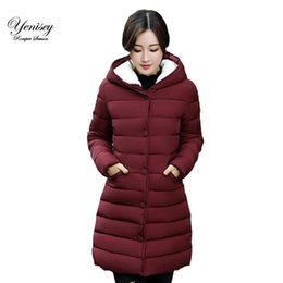 Wholesale Korean Girl Down Jacket - 2017 winter Hooded Coat girls long slim size jacket padded coat thick down Korean winter down parka women thick