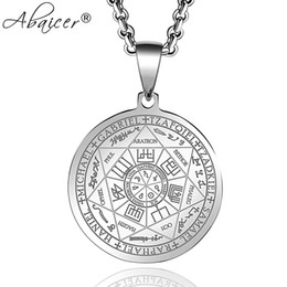 archangel pendants Coupons - Abaicer Seals Of The Seven Archangels Pendant Choker Statement Silver Stainless Steel Necklace For Women Dress Accessories