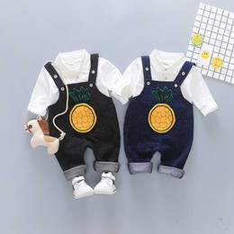 Wholesale Black Suits Suspenders - Boys Suspender Pants Shirt Suits Two-piece Clothing Sets Baby Boy Twinsets Baby Kids Tirantes Cotton Pineapple Cartoon Print 1-4T