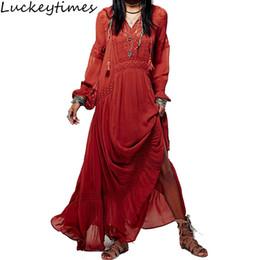 933a2a14b871 2019 abiti maxi etnici Vestito da donna vintage vintage lungo abito da donna  Boho ricamo boho