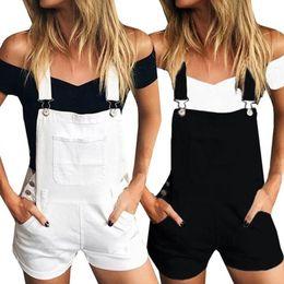 Pantaloncini bianchi online-Pantalone con bretelle in denim sciolto donna Tuta Jeans Demin Shorts Tuta Demin Pantaloni tuta nero bianco