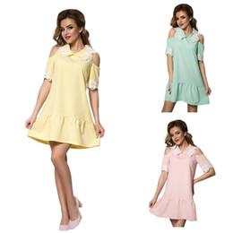 Wholesale Green Fishtail Skirt - Dress Size S-XL Three Colors Flower Splicing Shoulder Sleeve Air Sleeve Lapel Fresh Cute Simple Slim Fishtail Skirt