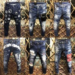 pantalones capri moda hombre Rebajas Mens Distress Ripped Skinny Jeans diseñador de moda Slim Fit Destroyed jeans Denim Pantalones para hombres A101