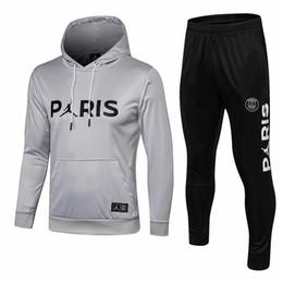 Felpa con cappuccio bianco online-New MJ Logo Sweater With Hoodie 18/19 PSG Uomo Casual Pullover nero 2019 Paris Saint-Germain White Pullover nero Hoodie Coat On Sales