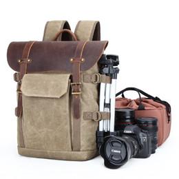 Sacs d'appareil photo imperméables en Ligne-Toile DSLR Caméra Sac à dos de voyage Imperméable Toile Professionnel Caméra Sac en cuir