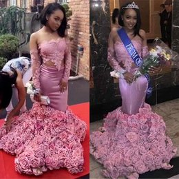 Wholesale Maternity Bottoms - African Long Sleeved Pink Lace Prom Dresses 2018 3D Flowers Roses Bottom Off The Shoulder Mermaid Evening Gowns Sexy BA8120