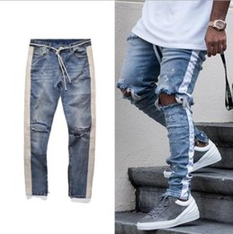 Wholesale 36 holes - 2018 NEW Fashion Hip Hop Ripped Destroyed men Hole jeans Biker White stripe stitching Bottom Side zipper Jeans Black blue 30-36