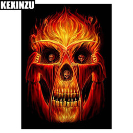 Wholesale ghost painting - KEXINZU Diy Diamond Painting Ghost Terror Skull Head 5D Cross Stitch Crystal Square Dill Full Diy Diamond Embroidery Resin Home Decor