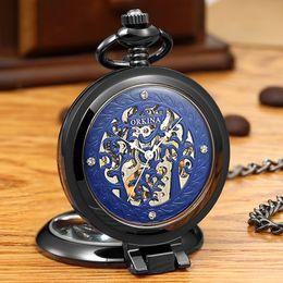 2019 relógios mecânicos unisex azuis 1 pçs / lote Unisex Fob Relógios Homens Vento Mão Mecânica Pocket Relógios Azul Dial Mulheres Colar Relógio Pingente Relógios Presentes Especiais relógios mecânicos unisex azuis barato
