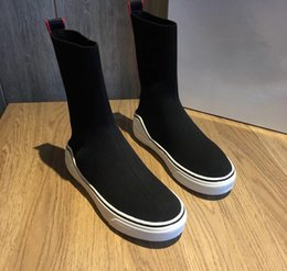 Wholesale Open Toe Heel Boots - Black Sock Knit Women's Boost with original box Flat heel Slip on Single Kniting Ankle Boots Female